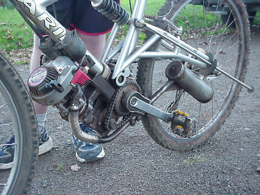 Motor is a small Robin 2 stroke weed trimmer variety. The bike can't be pushed backwards as the gearbox worm drive doesn't allow the pedals to be reversed.